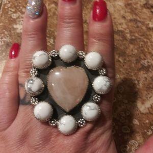 BNWT M&S Rose Quartz & Howlite Ring